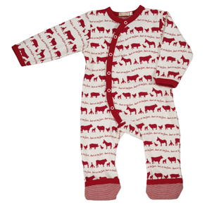 Red farmyard babygrow by Organics for Kids
