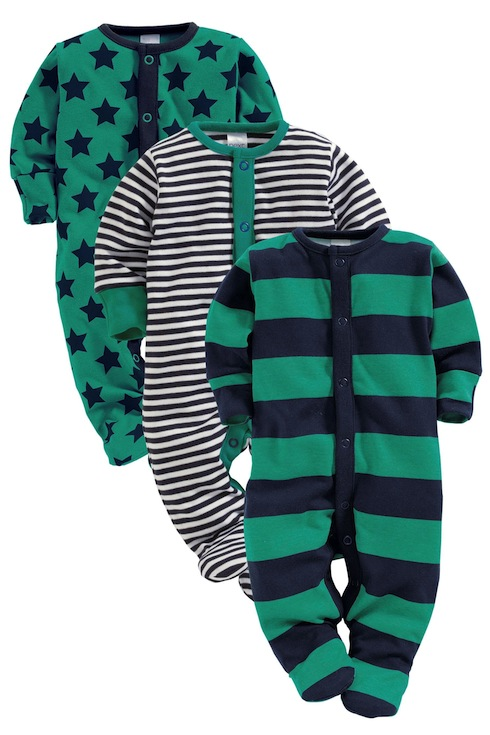 Green and blue baby sleepsuits from Next