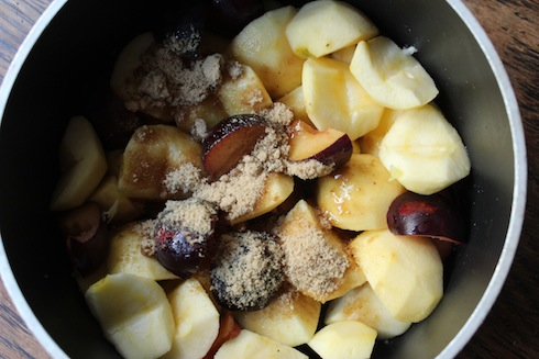 Apple and plum compote