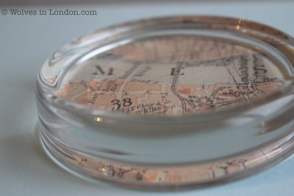 Map paperweight from Wolves in London blog