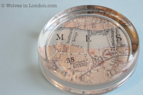 Give a paperweight for Valentine's Day with a vintage map showing where you went on your first date