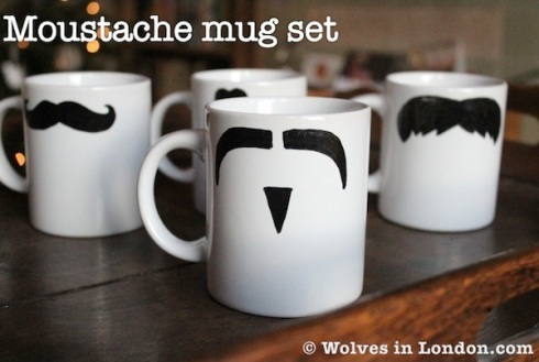 Moustache mug set tutorial from Wolves in London