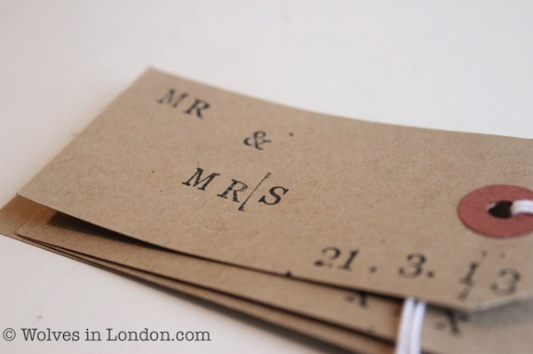 Wedding hand stamped gift tag