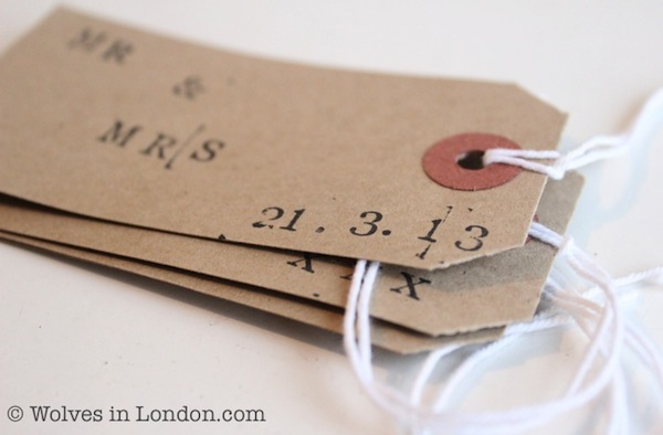 Stamp the wedding date onto your homemade gift tag