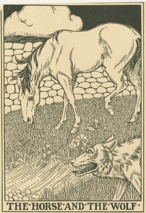 Wolf and horse, children's book illustration