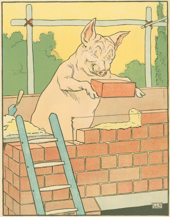 Vintage illustration of a pig building a house of bricks