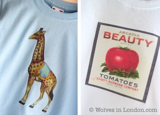 Home printed giraffe and tomato T-shirt