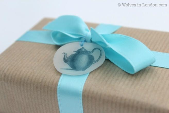 Shrink plastic teapot gift tag