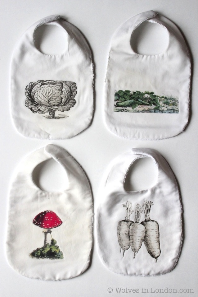 Homemade vegetable baby bibs