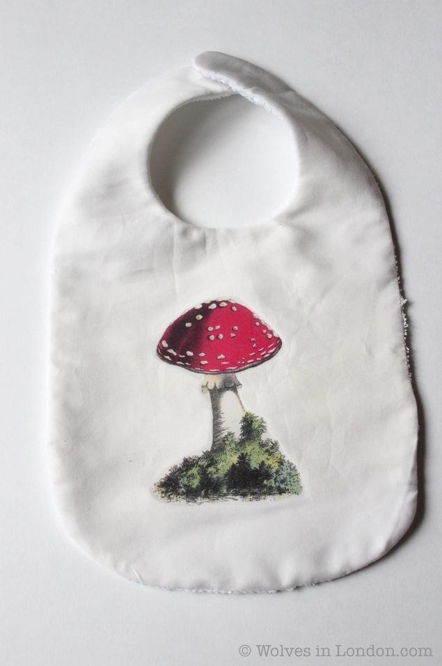 Homemade mushroom baby bib
