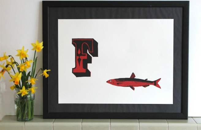 F is for fish screen print | Wolves in London