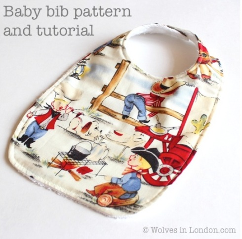 Easy baby bib pattern and tutorial