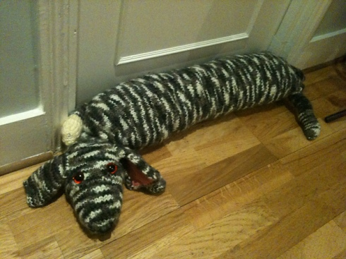 knitted dog draught excluder