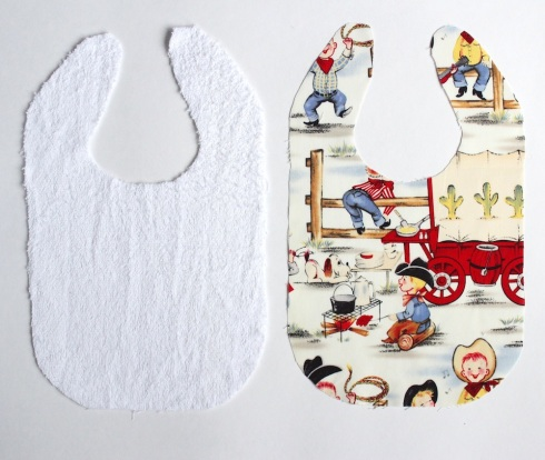 Two pieces of baby bib fabric