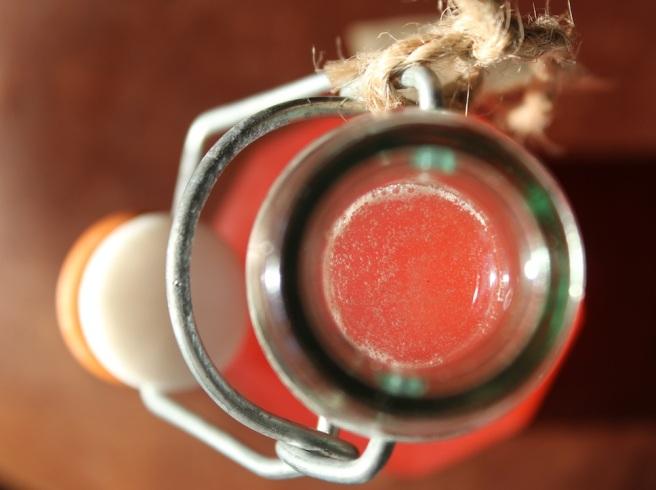 rhubarb syrup bottle
