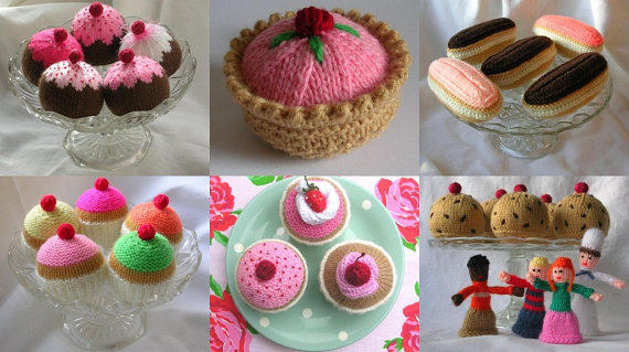 Knitted cake selection of patterns
