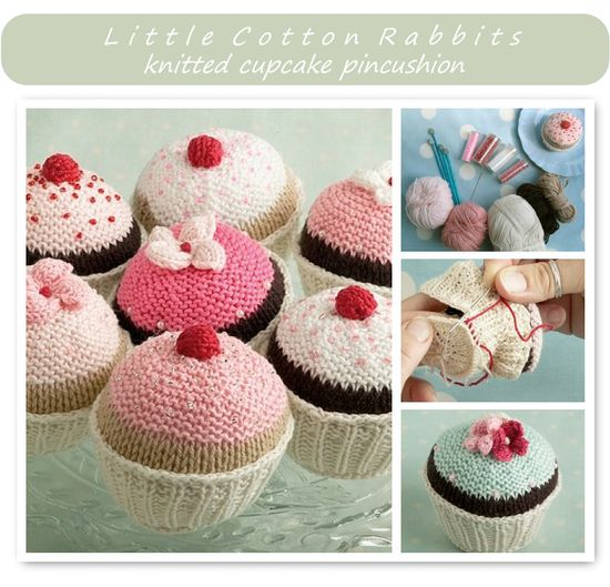 knitted cupcake pincushion by Little Cotton Rabbits