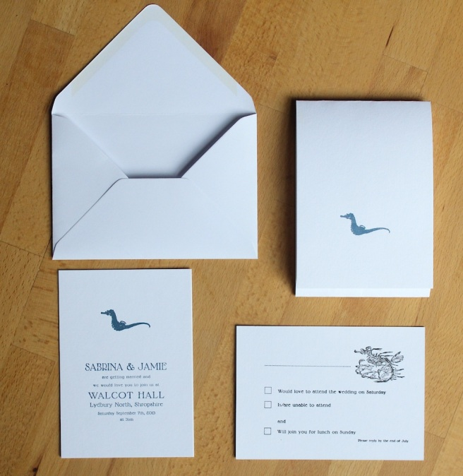 Letterpress wedding invitation set