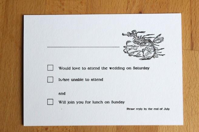 Letterpress wedding RSVP