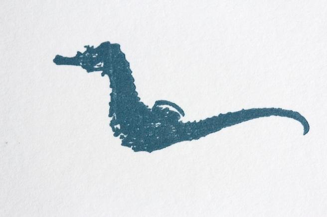 Letterpress sea horse