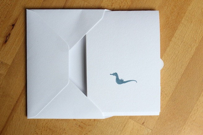 Wedding invitation with a seahorse