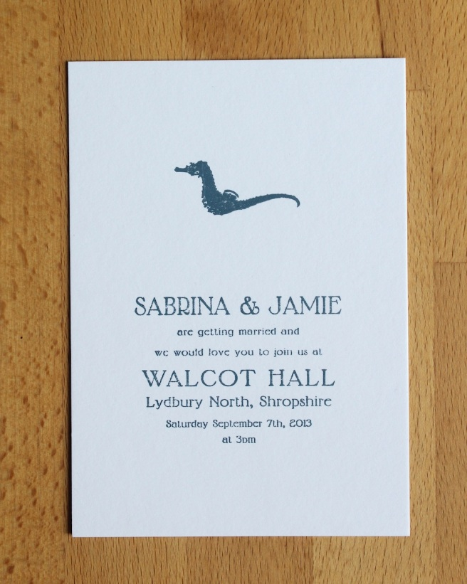 Sea horse wedding invitation