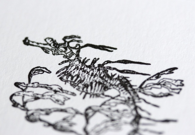 Letterpress weedy sea dragon