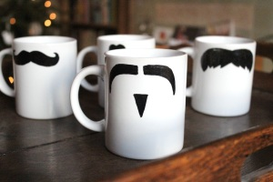 DIY moustache mugs
