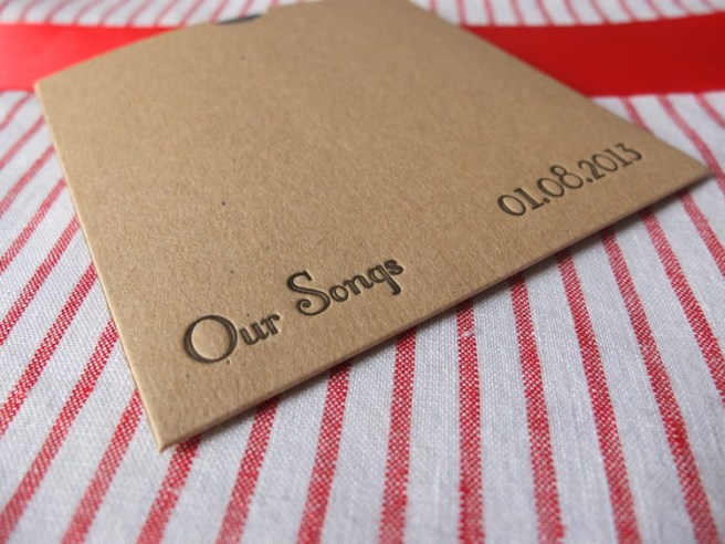 Personalised Letterpress CD case wedding favours