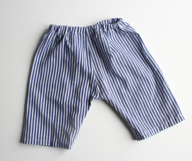 Blue stripy baby trousers, home sewn | Wolves in London