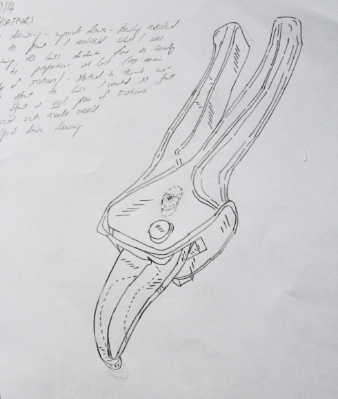 Drawing of secateurs