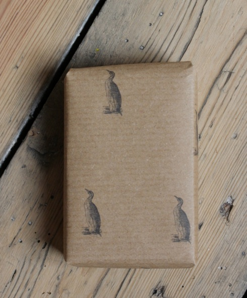 Home printed penguin Christmas wrapping paper