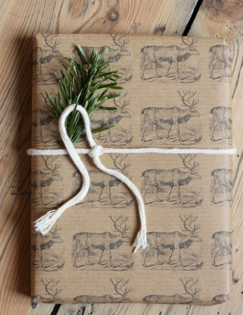 Home printed reindeer wrapping paper