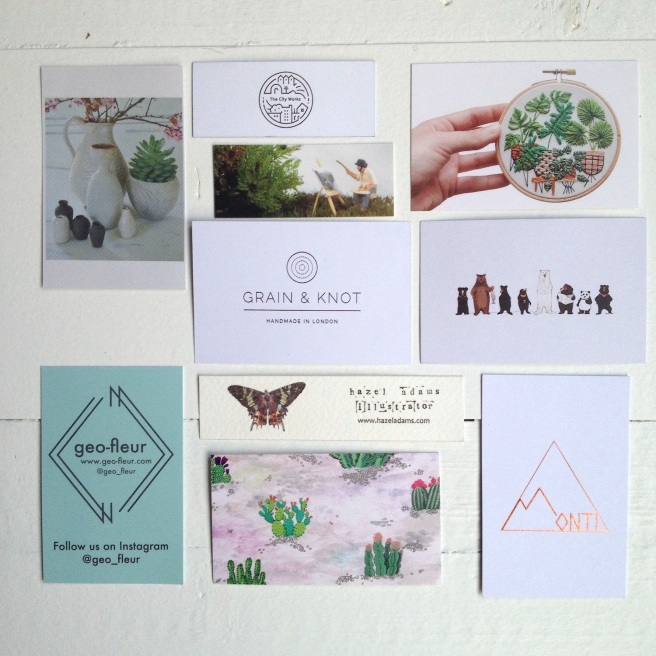 Business cards from Renegade Craft Fair