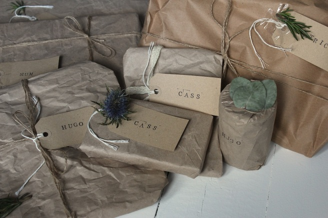brown paper wrapped presents