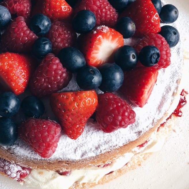 Berry topped Victoria sponge cake