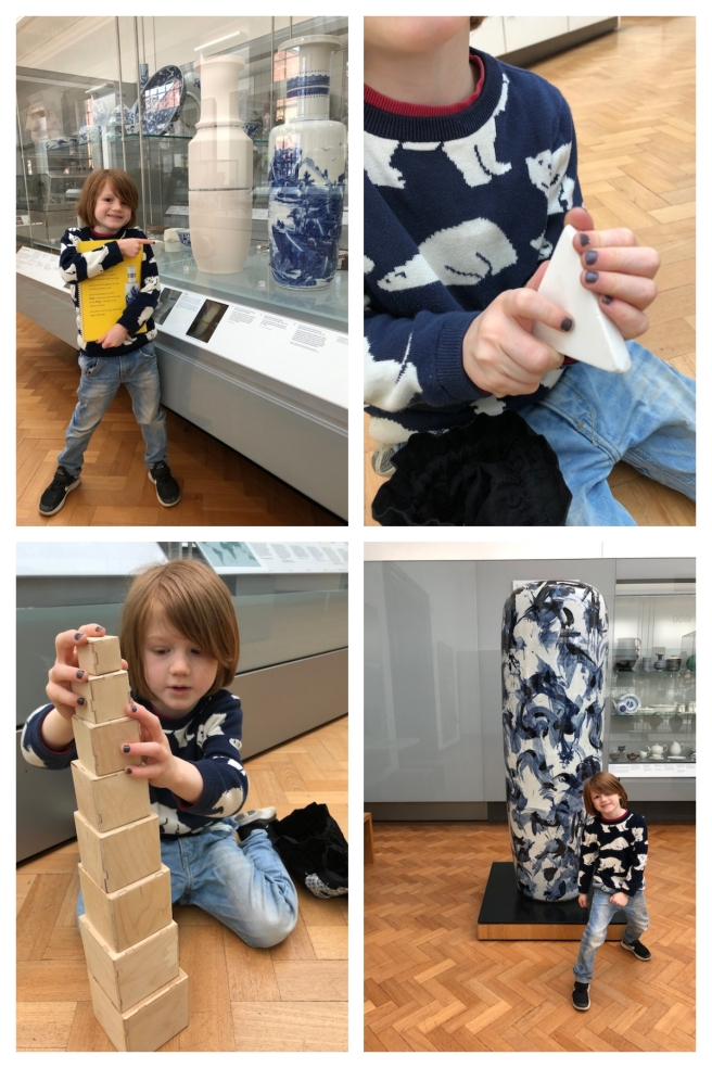 Child enjoying V&A museum activity backpacks
